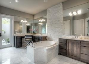 Modern Ruins custom home master bath San Antonio TX